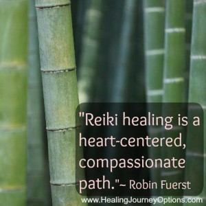 "Bamboo picture with quote, ""Reiki healing is a heart centered, compassionate path."
